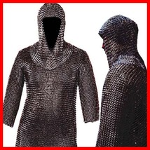 Medieval CHAINMAIL SHIRT, Blackened CHAIN MAIL Armor +COIF  LOTR, Hot Xmas Gift - $94.14