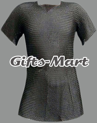 Medieval CHAINMAIL SHIRT, Blackened CHAIN MAIL Armor +COIF  LOTR, Hot Xmas Gift