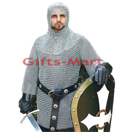 Medieval ChainMail Shirt M Size Militaria Chain mail Haubergeon, Reenactment Sca