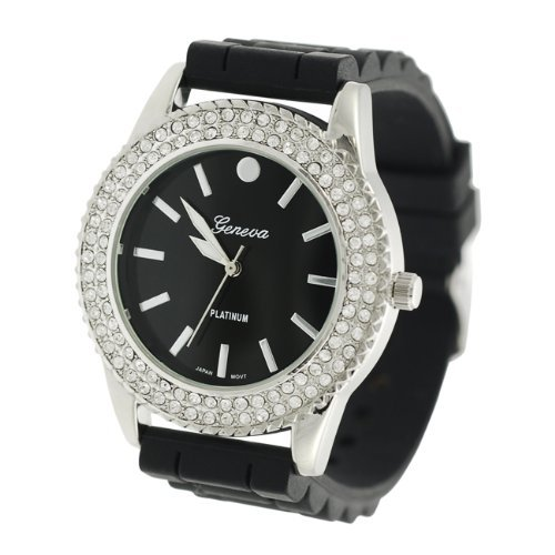 Primary image for Geneva Women's Platinum Rhinestone-accented Silicone Watch - BLACK/SILVERTONE