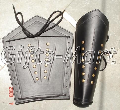 Medieval Leather Leg Guard, Gothic Fantasy COSTUME 05, Battle Ready Leg Guards