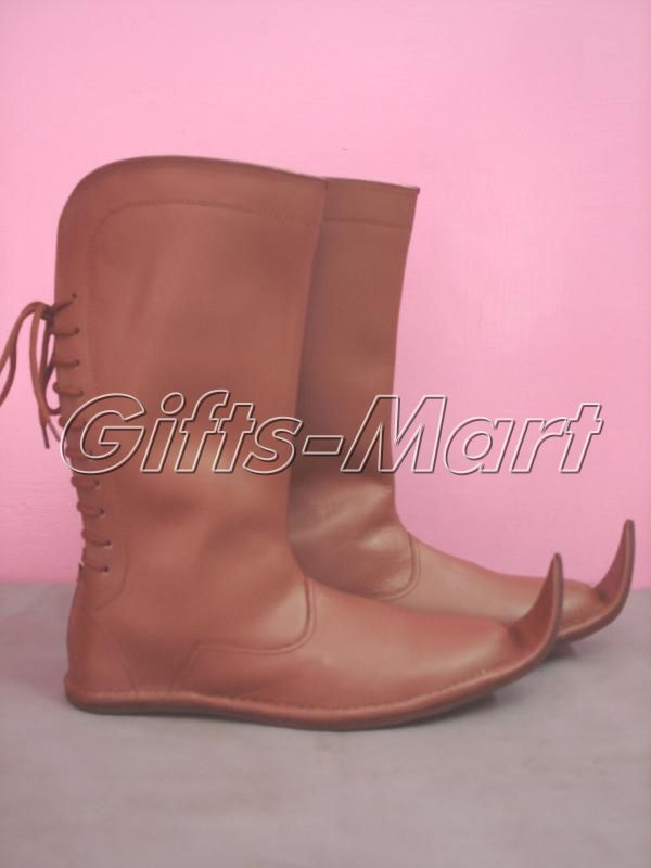 Medieval Long Boots, Militaria Leather Shoe, Fancy Stylish Medieval Boot for men