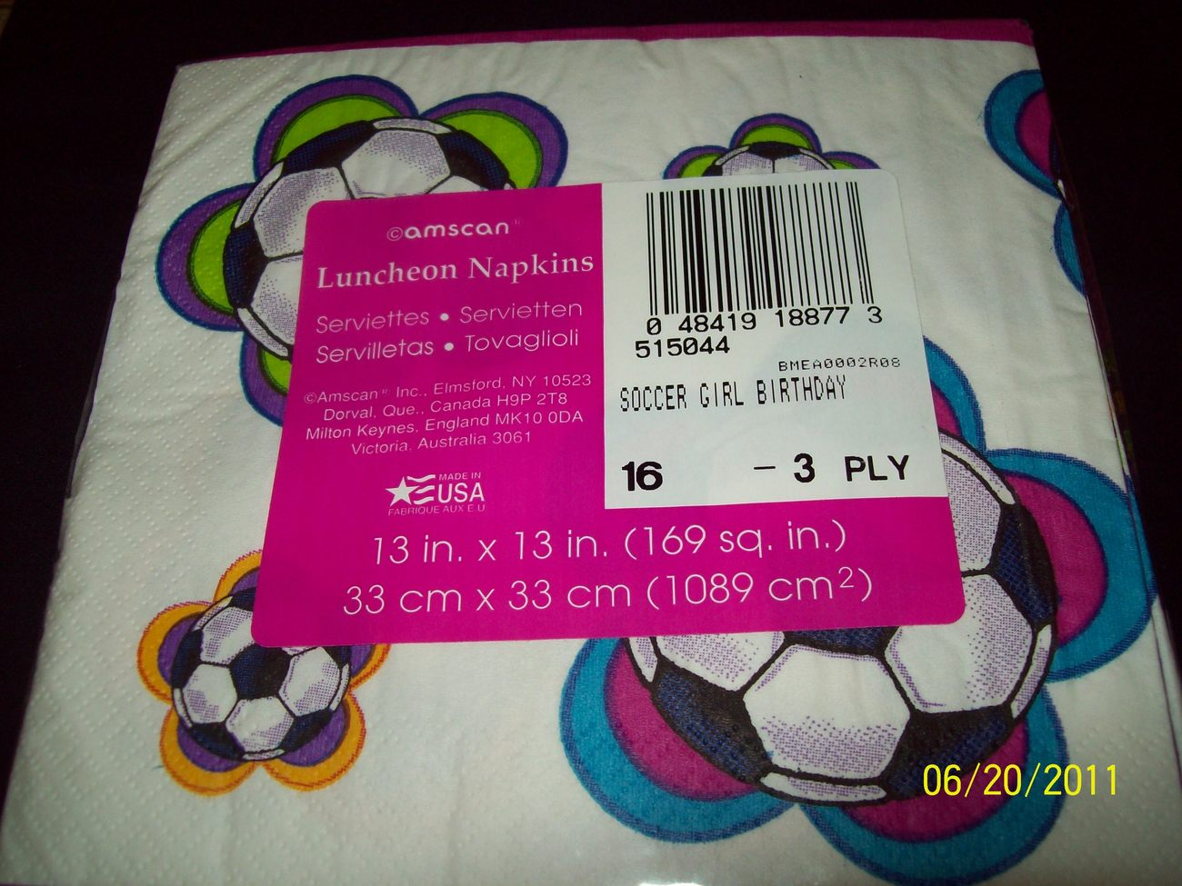 3 Packs Happy Birthday Soccer Girl Luncheon Napkins 16ct - 3ply
