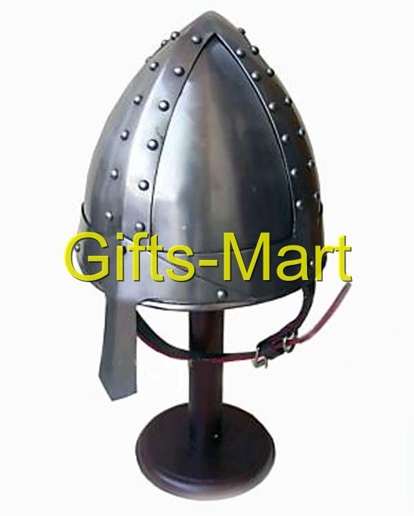 Medieval Norman Crusade Helmet, Reenactment helmets W/chin Strap, Militaria Sca