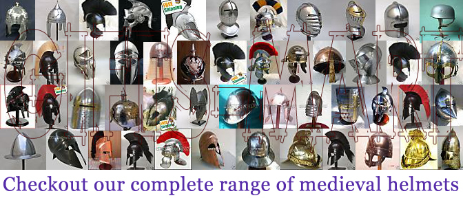 Medieval Norman knight Helmet Armor Helmets W/ChinStrap, Fancy Militaria Armor