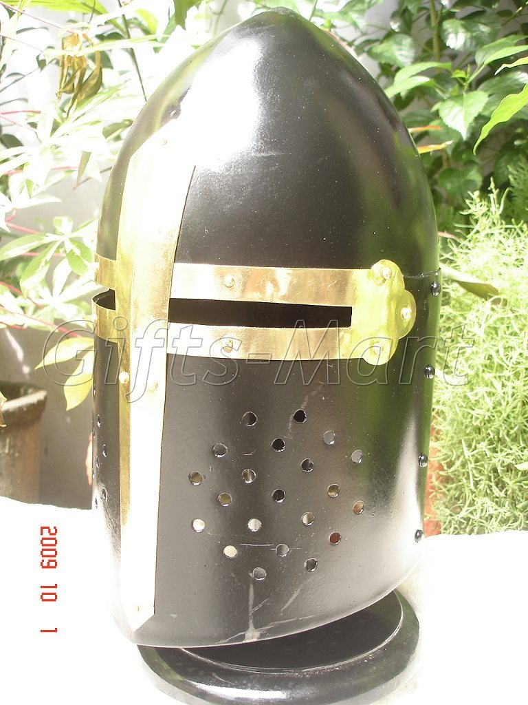 Medieval Sugarloaf Helmet Knight Armor Sugar Loaf Black, Ancient Military Armor