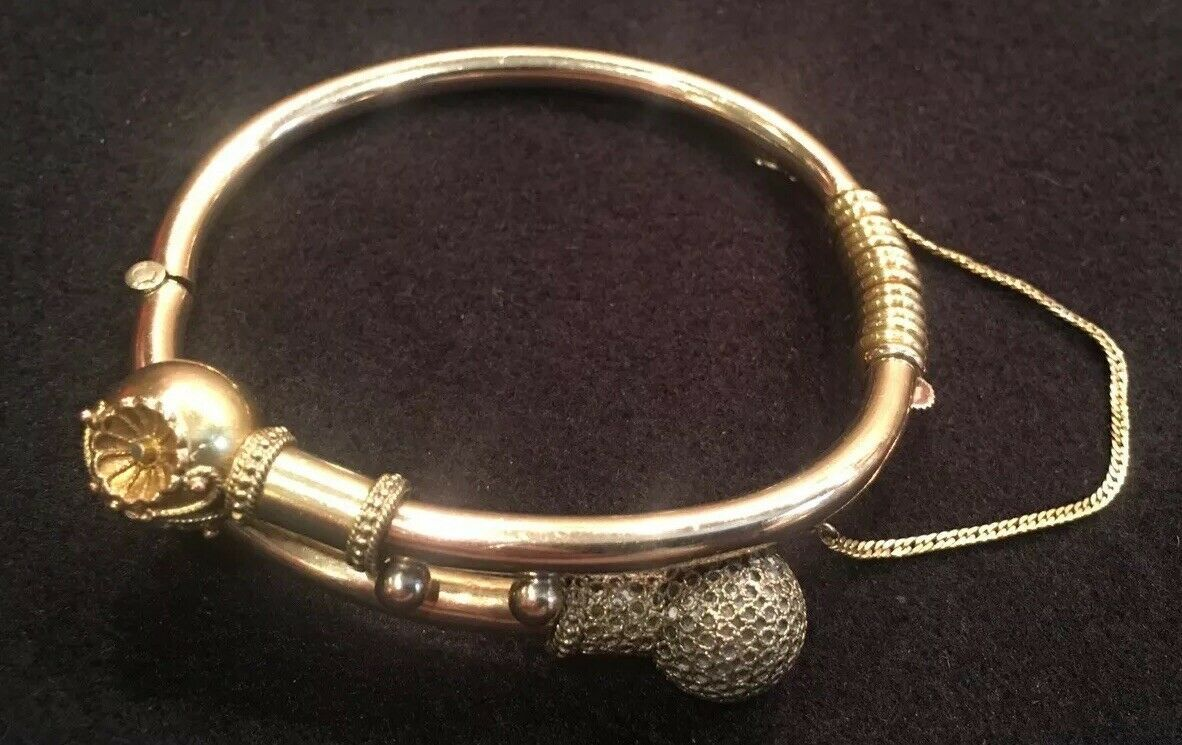 Victorian Gold Plated or Filled Hinged Bangle Bracelet With Safety Chain