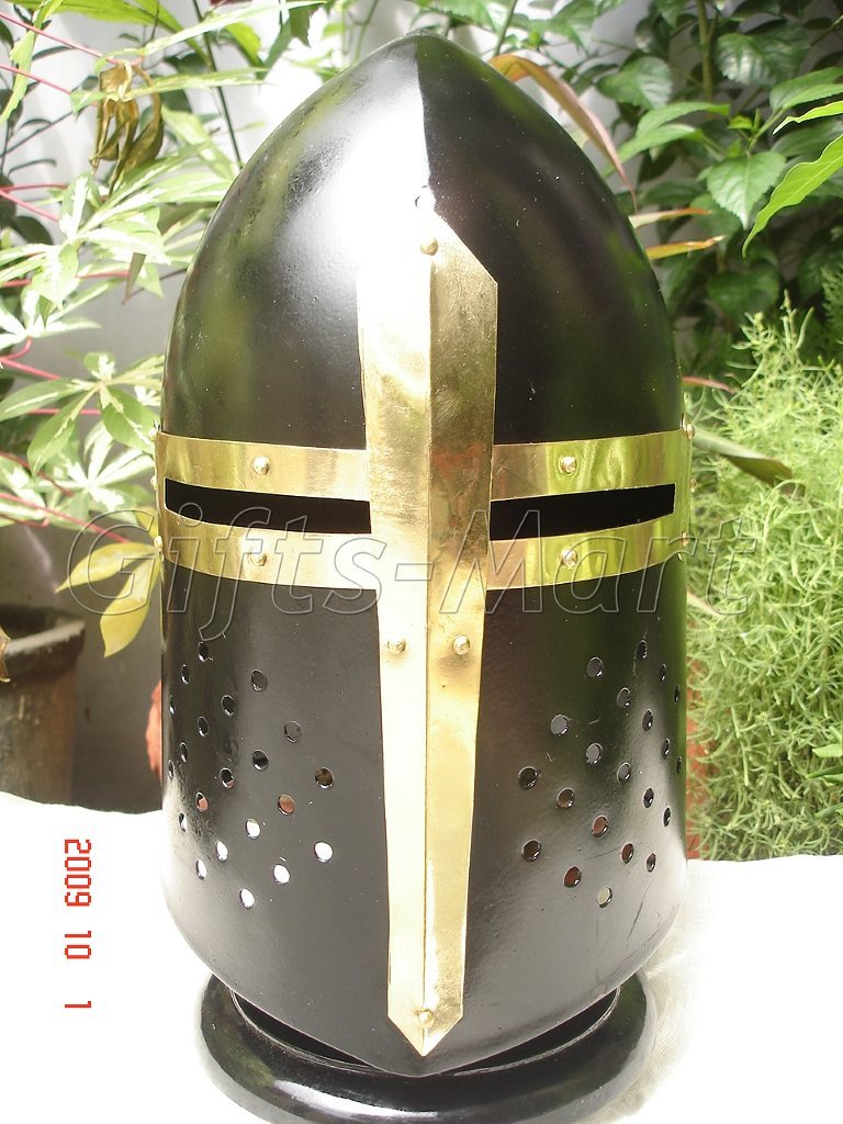 Medieval Sugarloaf Helmet Knight Armor Sugar Loaf Black, Fancy Xmas Gift Idea