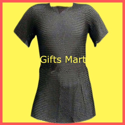 Medieval chain mail shirt size XXL black chainmail Militaria Reenactment Armour