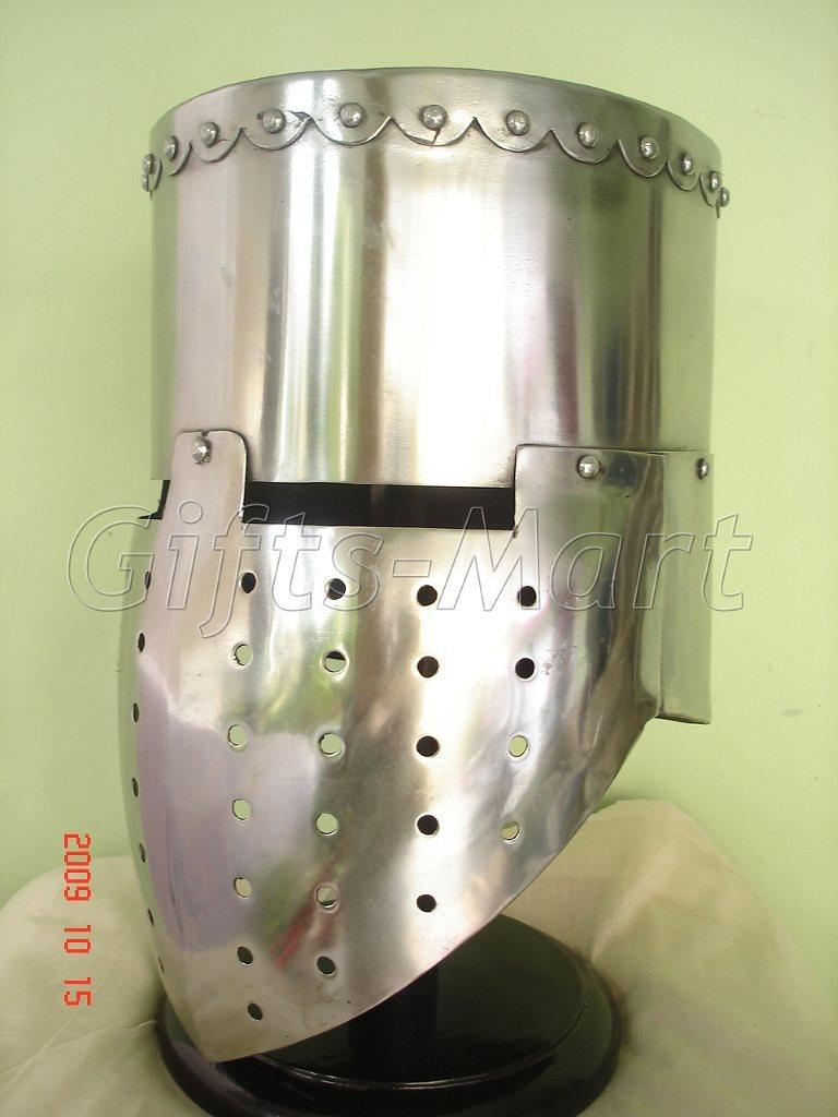 Medieval knight Templar Armor Helmet Crusader + Free Leather Liner Military Larp