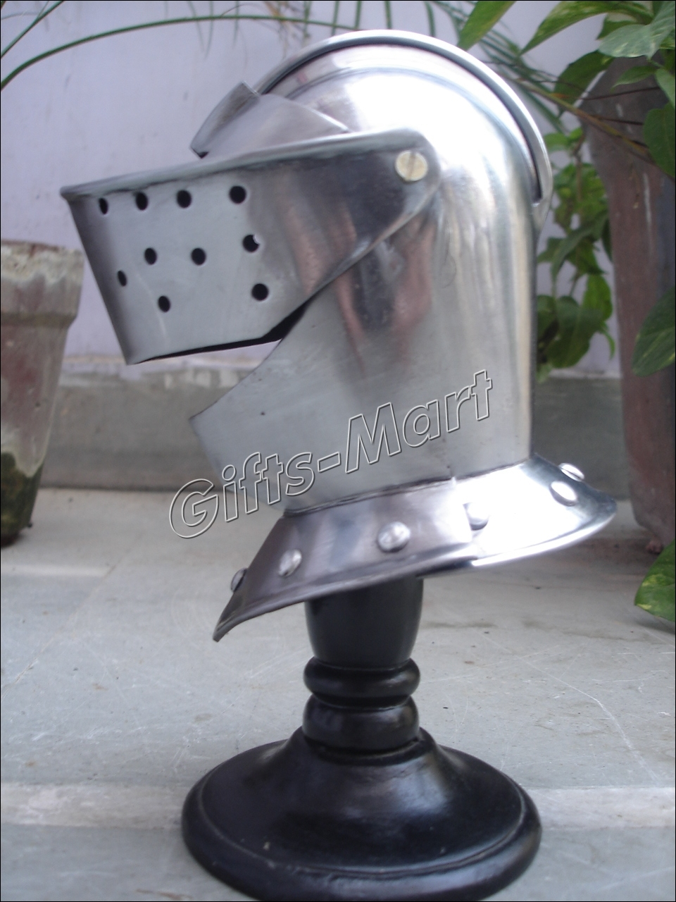 Mini Medieval Helmet +Free Wood Stand, Fancy Decorative Tabeltop Replica Knight