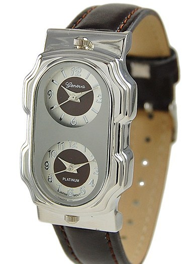 Primary image for Geneva Women's Platinum Dual Time Leather Watch - BROWN-SILVERTONE