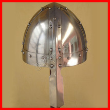 Norman Fight Helmet, Reenactment helmets W/chin Strap, Medieval Christma... - $30.76