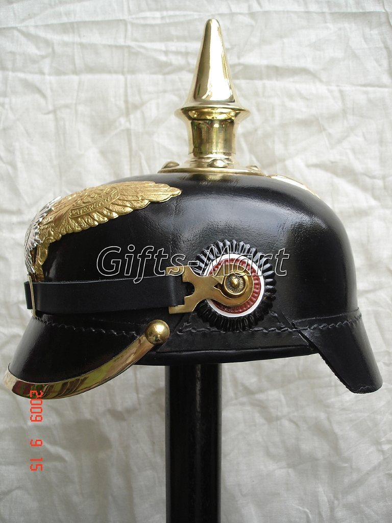 PRUSSIAN HELMET, LEATHER GERMAN WWI PICKELHAUBE SPIKED, MILITARY ARMOR COSTUME