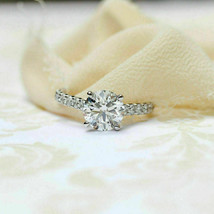 1.60Ct Round Cut VVS1 White Diamond Engagement Ring in Solid 14K White Gold - €235,12 EUR