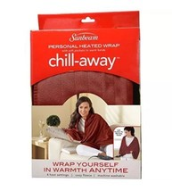 Sunbeam Chill-Away Electric Heated Fleece Wrap, Garnet 27 x 57 with Hand... - $29.75