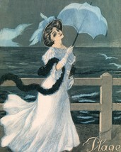 Le Frou Frou: Girl With Umbrella By Sea - $12.82+