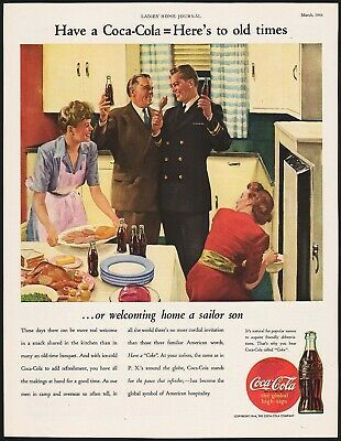 Primary image for Vintage magazine ad COCA COLA from 1944 welcoming home a sailor son picture