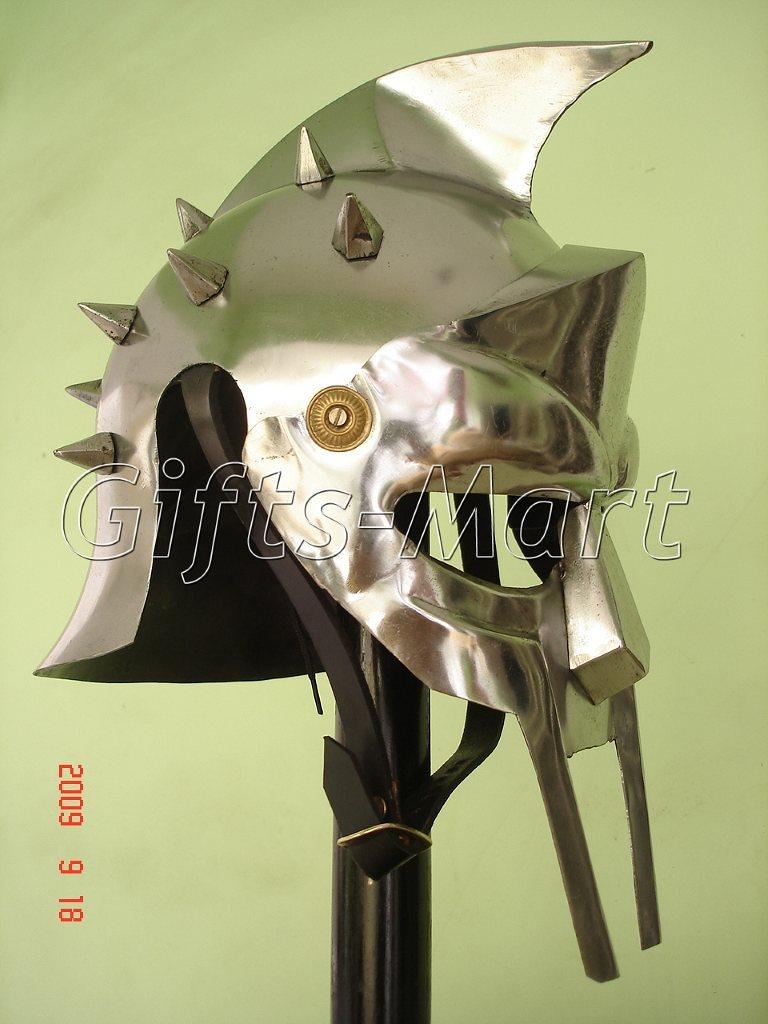 Roman GLADIATOR MAXIMUS HELMET +Free Leather Liner, Armor,Greek ,Movie,Prop,Sca