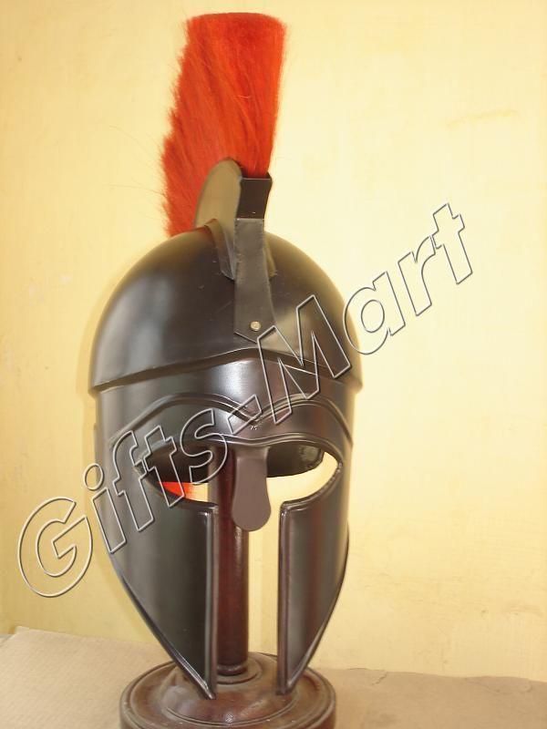Roman Spartan Greek Corinthian Helmet Armor w/ plum BR, Medieval Larp Xmas Gift