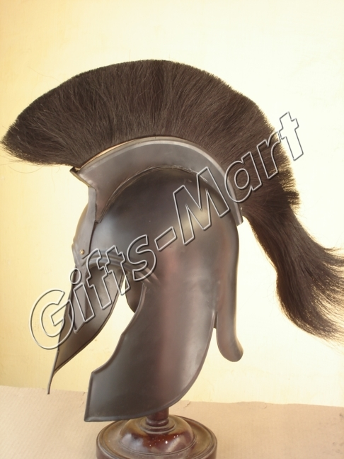 Trojan Helmet Medieval Troy Reenactment with Chin Strap, Military Armor Costume