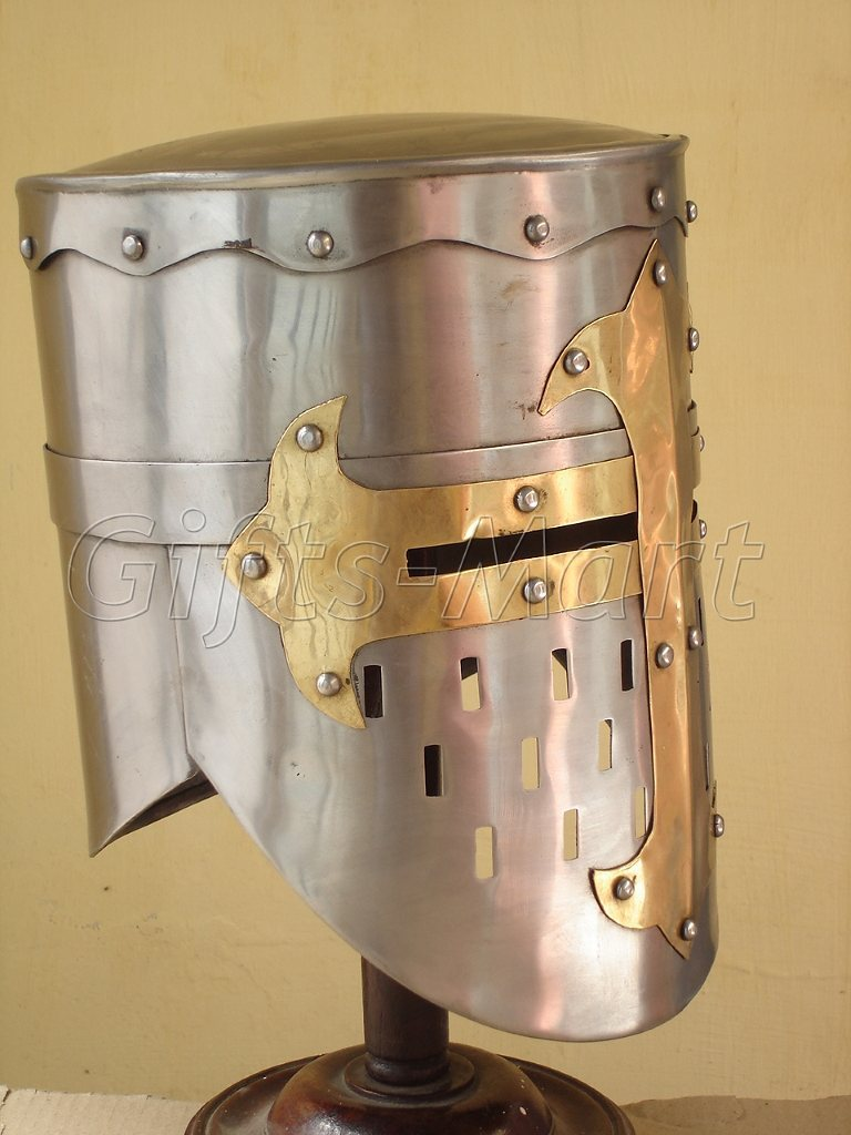 knight Helmet Medieval re-enactment Helmets with Free Adjustable Leather Liner