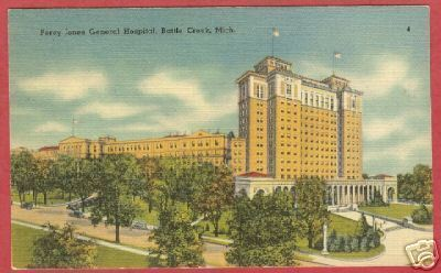 Battle Creek MI Percy Jones Hospital Linen Postcard BJs