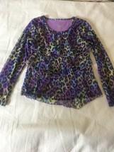Size 10 Justice Purple Tie Dye Cheetah Leopard Print L/S Sheer Ruffle Shirt Top - $12.00