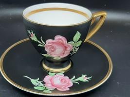 "Bavarian teacup and saucer ""Black Beauty"" pink Rose on matte black heavy... - $50.00"
