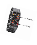 Mastop Men's Lava Stainless Steel RED LED Digital Bracelet Watch - $28.12+