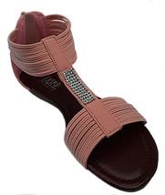 Womens Pink Crystal Rhinestone Gladiator Sandals Back Zipper Low Wedge Shoe - $23.10