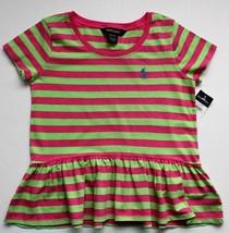 Ralph Lauren Girls Top Tee Pink Green Striped Ruffled Short Sleeve Size ... - $19.99