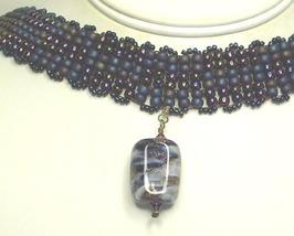 Jeweltone Seed Bead & Lamp Work Choker & Earrings - $93.99