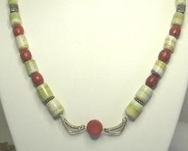 Salt River Serpentine, Sponge Coral and Sterling Silver Necklace - $93.99