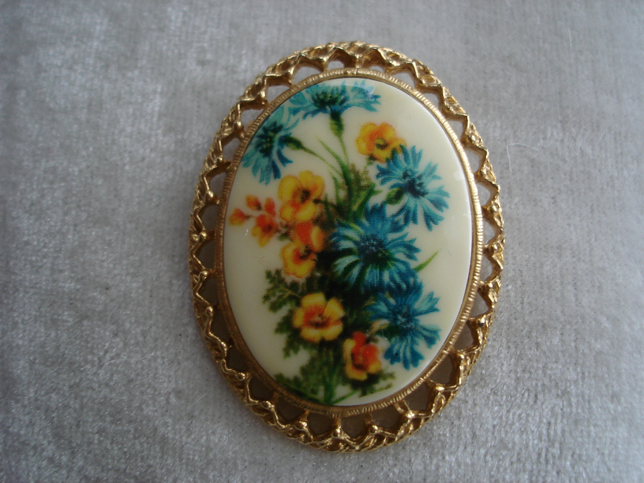 Goldtone Ornate Framed Porcelain Cameo With Painted Flowers
