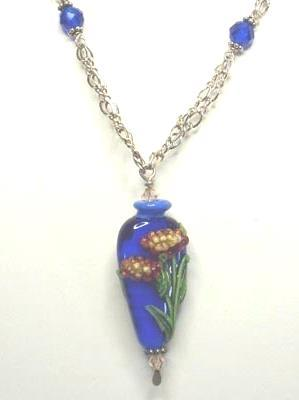 Chrysanthemum Floral Lamp Work, Crystal & Sterling Necklace  & Earring Set