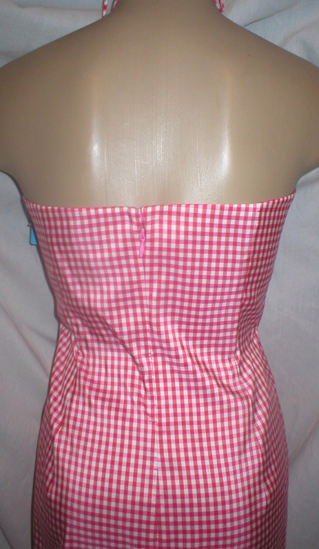 Ann Taylor red & white plaid silk sleeveless dress 4