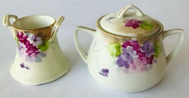 Antique Nippon Hand Painted Sugar Bowl & Other Container Set of Two Vintage - $24.18