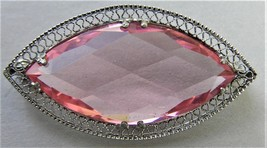 Vintage Pink Filigree Rhinestone Brooch Cut Marquise Glass  - $14.99