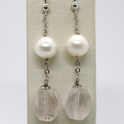 925 STERLING SILVER PENDANT EARRINGS WITH BIG FACETED ROSE QUARTZ AND PEARLS