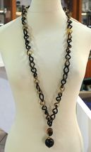 18K YELLOW GOLD LONG NECKLACE, HORN, AMBER, EBONY, 1 METER, 39.4 INCHES image 3