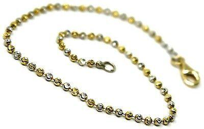 18K YELLOW WHITE GOLD BRACELET, MINI FACETED ALTERNATE BALLS SPHERES 2mm