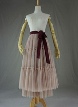 Adult Bridesmaid Tiered Tulle Skirt, Nude Pink Tulle Skirt with Belt,Photo Shoot image 7