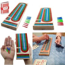 Classics Traditional Wooden Cribbage Board Game Set 3 Person Game Fun Ho... - $19.71