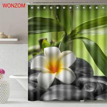 WONZOM Stone Waterproof Shower Curtain Serenity Bathroom Decor Elegant Flower De - $35.15