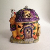 "Halloween Ceramic Figurine Haunted House Pub 4"" Tall Purple Sparkle Roof - £7.37 GBP"
