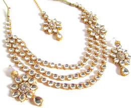 Kundan Necklace Set Jewelry Gold Bollywood Plated Indian Bridal Fashion ... - $12.56
