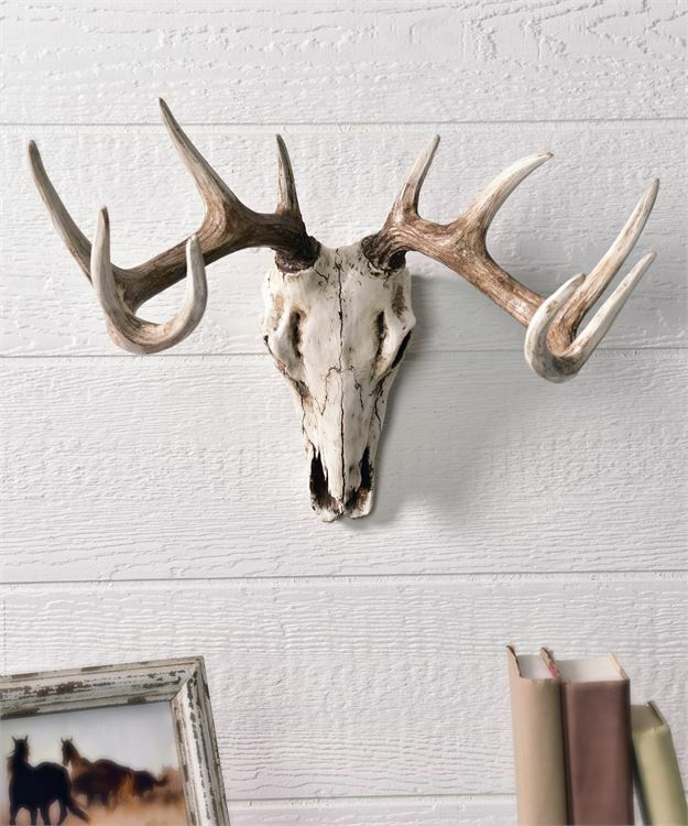 "20"" Deer Skull Design Wall Decor -  Weathered White Polystone"