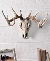 "20"" Deer Skull Design Wall Decor -  Weathered White Polystone  NEW"