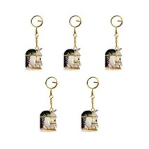 HANDICRAFTS PARADISE Men's Keychains Set of 5 Pc Horse Head Carved and P... - $14.33